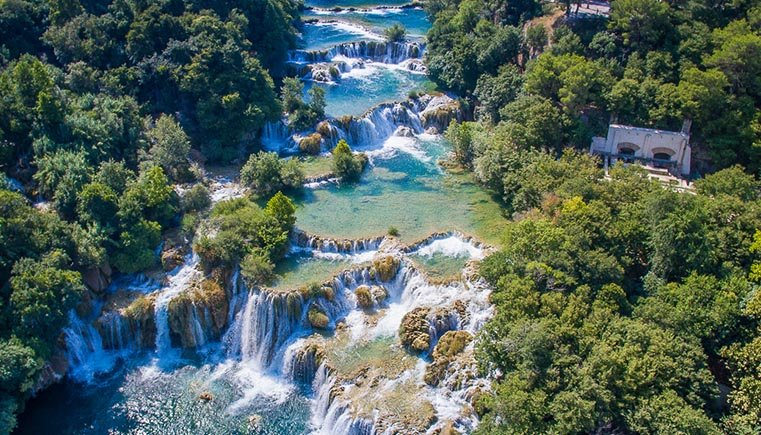 Krka Waterfalls Drone Shot